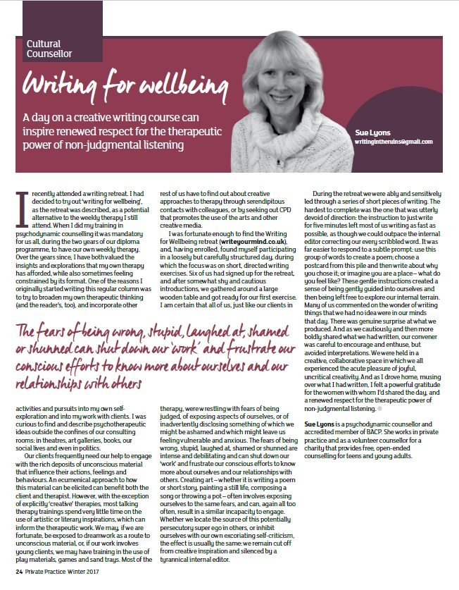 Sue Lyons article, BACP mag